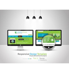 Modern Flat Style UI interface design elements vector image