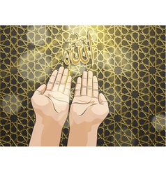 Muslim hands in pose of praying vector