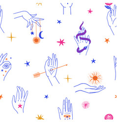 Mystic seamless pattern with female hands vector
