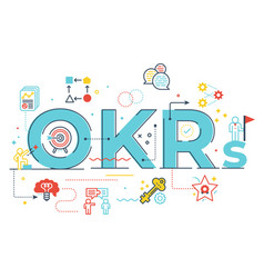 okrs objectives and key resultsword lettering vector image