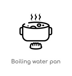 Outline boiling water pan icon isolated black vector