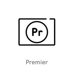 Outline premier icon isolated black simple line vector