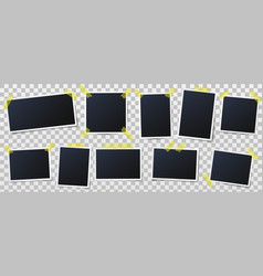 photo frame on sticky tape photos on adhesive vector image