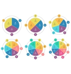Pie charts with 3 - 8 steps sections vector image