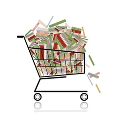 Pile of books in shopping cart for your design vector