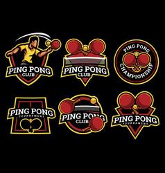 Ping pong logo and badge set image vector