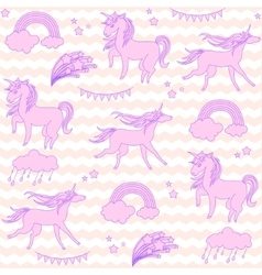 Pink unicorns with stars on a white and beige vector