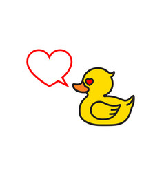 Rubber yellow duck with hearts in eyes vector