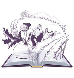 russian tale of turnip open book cartoon vector image