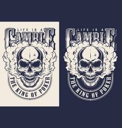 set casino emblems with skull vector image