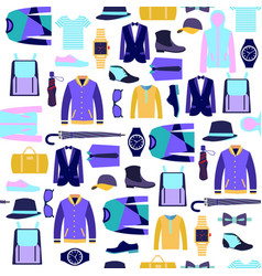 set man clothes fashion accessories background vector image