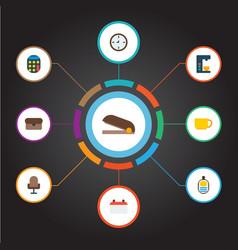 set of bureau icons flat style symbols with wall vector image