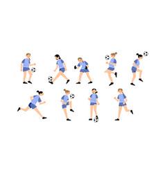 Set women s soccer team wearing blue uniforms vector