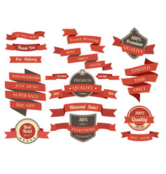 shopping banners and ribbons with promotion text vector image