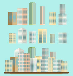 Skyscraper offices flat business buildings set vector