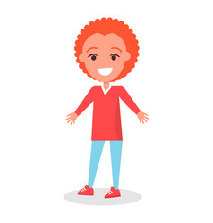 Smiling redhead boy in sweater and trousers vector