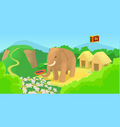 Sri lanka horizontal banner travel cartoon style vector