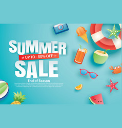 summer sale with decoration origami on blue sky vector image