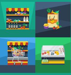 supermarket 2x2 flat design concept vector image