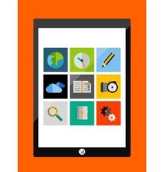 Tablet apps trendy flat design vector image