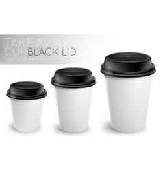 Take away paper cup black cap vector image