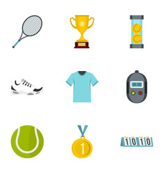 Tennis attributes icons set flat style vector