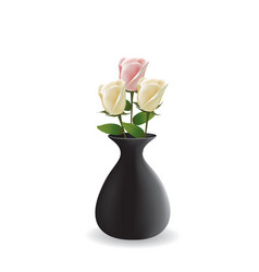 three roses in vase vector image