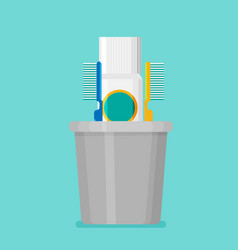 toothbrush toothpaste in a glass flat vector image