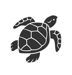 Turtle glyph icon slow moving reptile with scaly vector