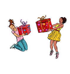 two girls joyful with gifts vector image