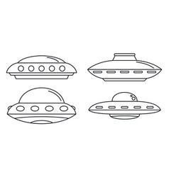 Ufo spaceship icon set outline style vector
