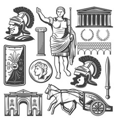 Vintage roman empire elements set vector
