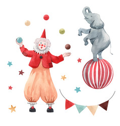 Watercolor circus clown set vector