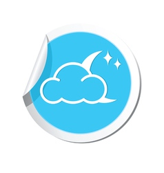 Weather forecast clouds with moon and stars icon vector