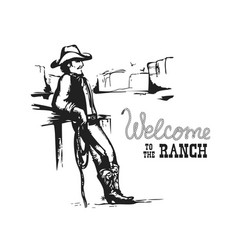 welcome to ranch american cowboy on wild west vector image