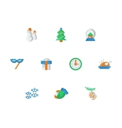 Winter entertainment flat color icons set vector image