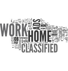 Work at home classified text word cloud concept vector