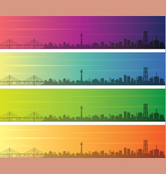 yokohama multiple color gradient skyline banner vector image