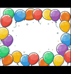 colorful helium balloon frame vector image vector image