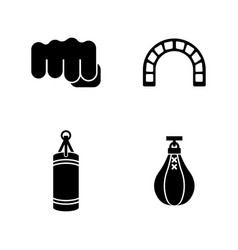 Punching bag simple related icons vector