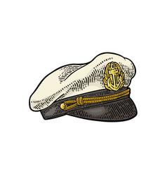 Captain hat on white background vintage vector