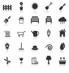 Gardening icons with reflect on white background vector image