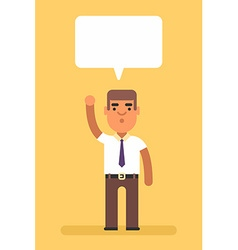 Man raised one hand up Attention Text bubble cloud vector image