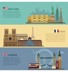Set of travel banners - new york paris london vector
