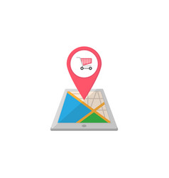 shopping cart map pointer flat icon mobile gps vector image vector image