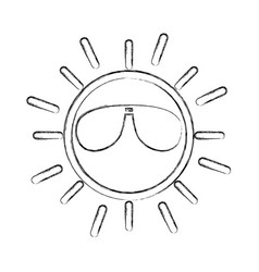 sun with sunglasses character vector image