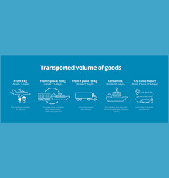 transported volume of goods icons infographic vector image