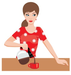 woman on kitchen pours coffee vector image