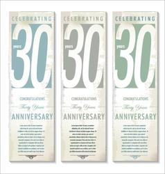 30 years Anniversary retro banner set vector image
