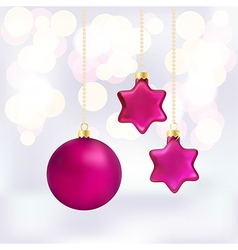 Christmas baubles on abstract background vector image vector image